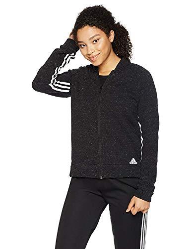 adidas Womens Athletics Sport-2-Street Track Jacket, Black Melange/White, Small