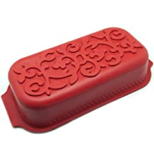 Freshware CS-101RD Leaf Pattern Pound Cake Silicone Mold and Pan, Red, Small