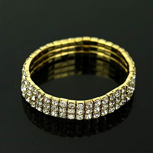 WSSROGY 2 Pcs 3 Row Rhinestone Stretch Bracelet Rhinestone Tennis Bracelets for Women Bridal Gold Tone ()