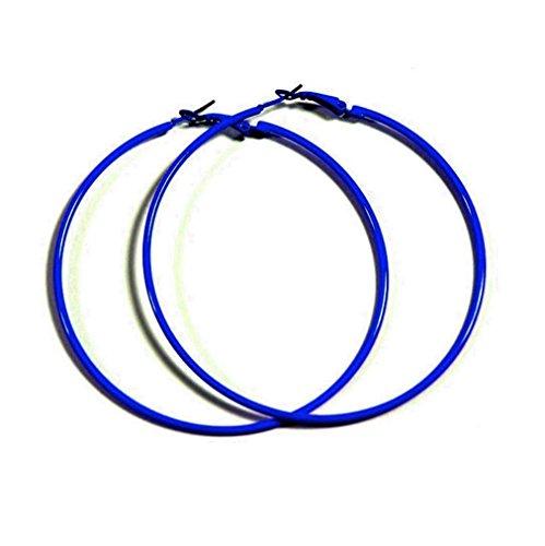 NEON BLUE Hoop Earrings 50mm Circle Size - Bright Flourescent, Vibrant Colors ()