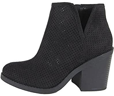 MVE Shoes SodaWomens Tarpon Perforated Stacked Block Heel Ankle Bootie Black SU 6