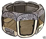 Zebra Pet Dog Cat Tent Puppy Playpen Exercise Pen Crate by BestPet