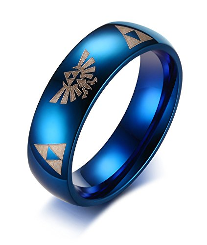 XUANPAI Domed High Polish Stainless Steel Legend of Zelda Triangle Logo Wedding Engagement Rings,Size 8 (Legend Of Zelda Mens Ring)