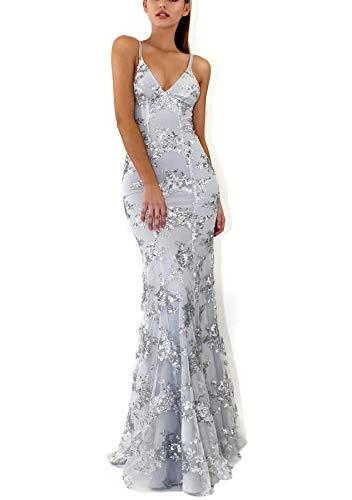 PJTOP Women's Sequins V-Neck Backless Empire Waist Party Wedding Maxi Long Dresses (X-Larg, Grey)