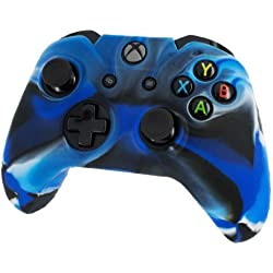Silicone Skin Protective Cover for XBOX One Controller [Camouflage Blue + Blue Caps]
