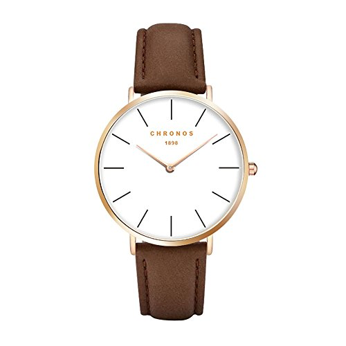 Chronos Men Women Quartz Watch Unisex Brown Rose Gold PU Leather Watch Causal Minimalist Thin Ladies Gentlemen Wristwatches White (Chrono Ladies Watch)
