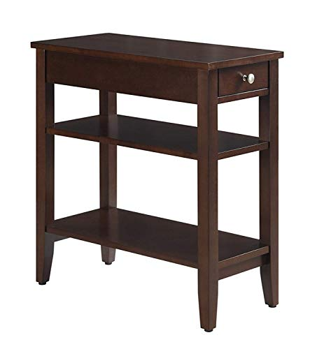 Convenience Concepts American Heritage 3-Tier End Table with Drawer, Espresso (Tier Side Table 3)