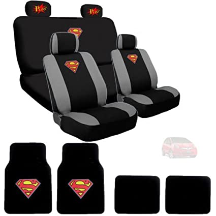 Ultimate Superman Car Seat Covers Floor Mats Set Bundled With Classic POW Logo Headrest