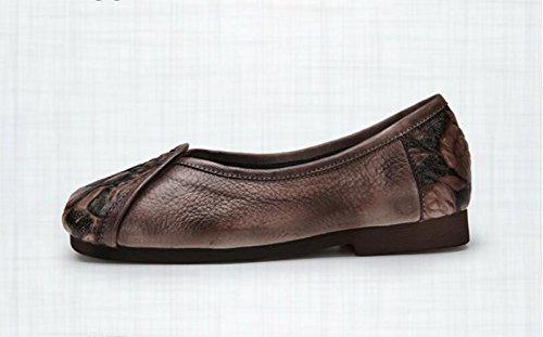 ZFNYY Café en Main imprimé Rétro Chaussures Souple la Cuir Larges Femmes Plates Chaussures à Faites qg6q1