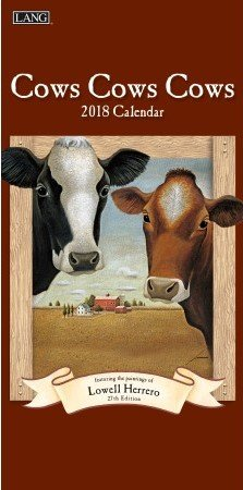 "LANG - 2018 Vertical Wall Calendar - ""Cows Cows Cows"", Artwork by Lowell Herrero - 12 Month, Open Size 7.75"" x 15.5"""