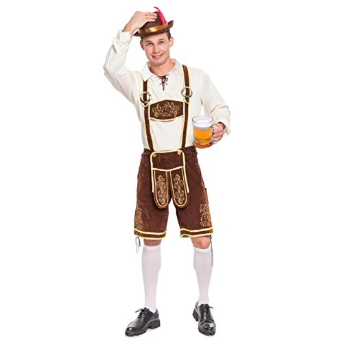 Spooktacular Creations Men's German Bavarian Oktoberfest Costume Set for Halloween Dress Up Party and Beer Festival (Large) Brown]()