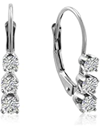 AGS Certified 1/2ct TW Diamond Lever Back Earrings in 14K Gold