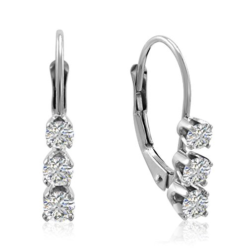 - AGS Certified 1/2ct TW Three Stone Diamond Earrings in 14K White Gold