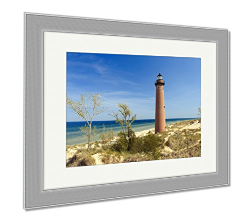 Little Sable Point Lighthouse (Ashley Framed Prints Little Sable Point Lighthouse In Dunes Built In 1867 Lake Michigan Mi USA, Wall Art Home Decoration, Color, 26x30 (frame size), Silver Frame, AG6252946)
