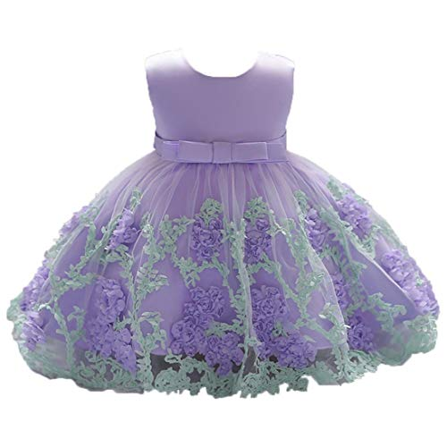 Stylish Flower Baby Girls Princess Tutu Dress Print Sleeveless Formal Clothing Dresses (age:3-6month, Purple) by InMarry