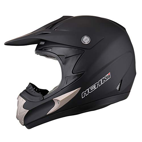 NENKI Motocross MX Dirt bike Helmet NK-301 for Men,DOT Approval (XL 61CM, MATT BLACK)
