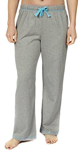 Leisureland Women's Cotton Solid Jersey Knit Pajama Pants Gray Medium ()