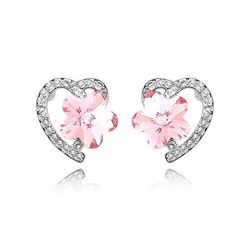 Ablaze Jin Crystal Earrings Simple Boutique Earrings Jewelry,Light Rose ()