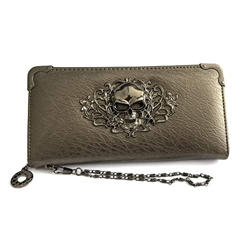 Bronze Womens Wallet - HOYOFO Skull Wallets for Women Long Purse Cool Fashion Clutch Wallet (Gray)