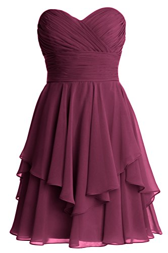 MACloth Women Short Wedding Party Bridesmaid Dress Strapless Tiered Cocktail Wine Red