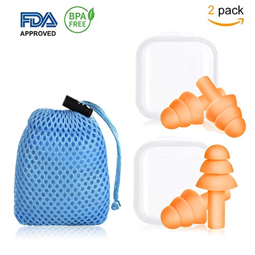 Earplugs Silicone Ear Plugs Noise Cancelling Comfortable Reusable Waterproof Earplugs(2 Pair) for Sleeping Snoring Swimming Concerts Shooting and Airplanes with Travel Orange