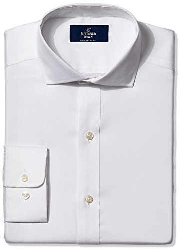 BUTTONED DOWN Men's Classic Fit Cutaway-Collar Non-Iron Dress Shirt (Pocket), White, 17