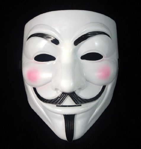 V for Vendetta Anonymous Guy Fawkes Masquerade Halloween EDC Mask (White Mask w/ Pink Cheeks) (V Is Vendetta)