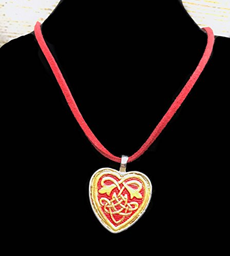 Partner Costumes For Teenage Girls (Hand-Painted Veg Tanned Leather Gold and Red Celtic Heart Pendant Necklace)