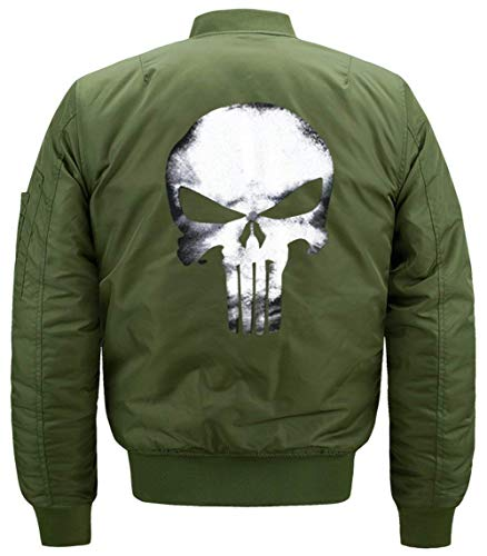 Lino Jacket De Chaqueta De De Hombres Modelado De Delgado Manga Flight De Chaqueta Los Larga Acolchado Chaqueta Cráneo Collar Jacket Vuelo Bombardero Grün 1w5qAAdvEx