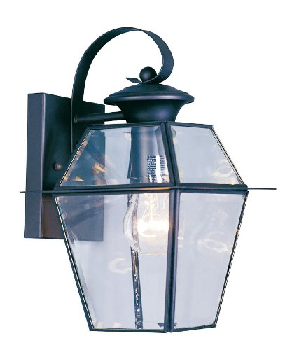 Livex Lighting 2181-04 Westover 1 Light Outdoor Black Finish Solid Brass Wall Lantern  with Clear Beveled Glass