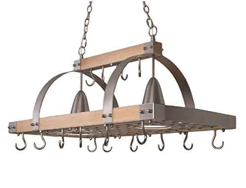 Light kitchen wood pot rack with downlights.