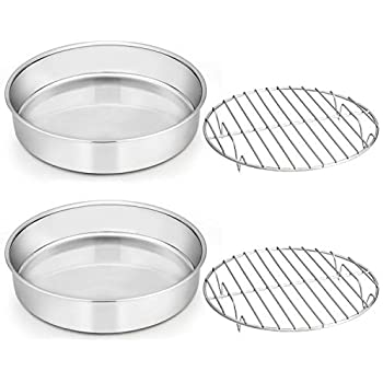 8-inch Cake Pan with Rack Set, E-far Stainless Steel Round Cake Pans and Baking Cooling Racks, Non Toxic & Healthy, Mirror Polished & Dishwasher Safe - 4 Pieces (2 Pans + 2 Racks)