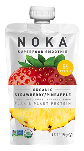 NOKA Superfood Smoothies | 100% Organic Fruit And Veggie Smoothie Squeeze Pouches | No Added Sugar, Non GMO, Gluten Free, Vegan, 5g Plant Protein | 4.2oz Each (Strawberry/Pineapple, 6 Pouches)