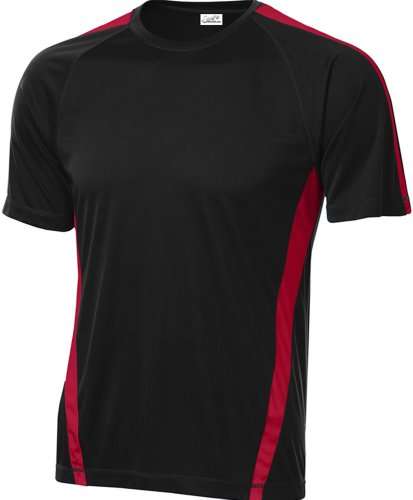 Joe's USA Men's Athletic All Sport Training T-Shirt ,Black/ True Red ,Large