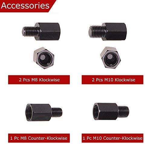 2x filetage /à droite M8 Evermotor Universal Jeu de r/étroviseurs moto noir miroir 2x filetage /à droite M10 1x filetage /à gauche M10 1x filetage /à gauche