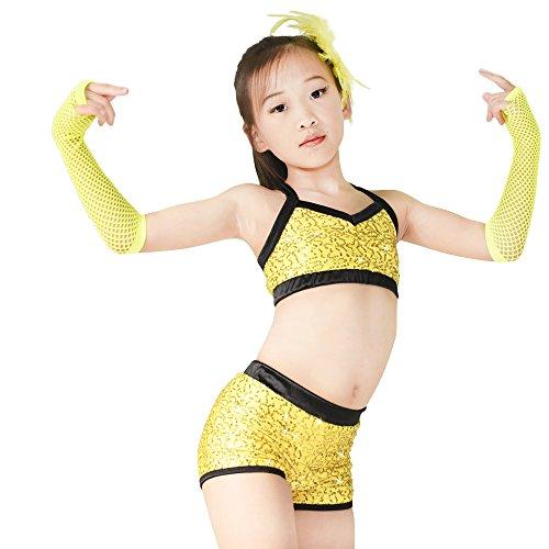 Gymastics Hop Pantaloncini Dance Neri Aderente Top Abiti Anca Paillettes Midee E Acrobazie Polo Costume wa04qzS