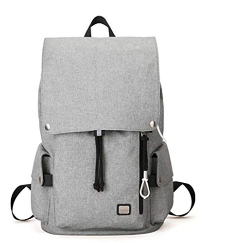 Men Backpack Large Capacity Student School Bag Water Repellent Short Trip Backpack Gray USB 15inches