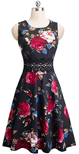 HOMEYEE Women's Sleeveless Cocktail A-Line Embroidery Party Summer Wedding Guest Dress A079(4,Black+Red Floral 2)