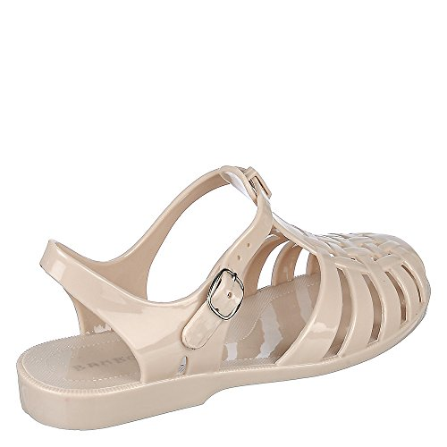 Bamboo Amira-01 Jelly Fisherman Sandal Ballet Flats Nude