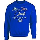 Mr and Mrs Church EST. 2018 Last Name Wedding Year - Adult Sweatshirt M Royal
