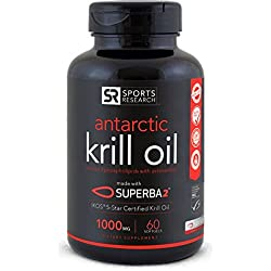 Antarctic Krill Oil (Double Strength) 1000mg per softgel with Omega-3s EPA, DHA and Astaxanthin   60 Liquid Softgels - 2 Month Supply