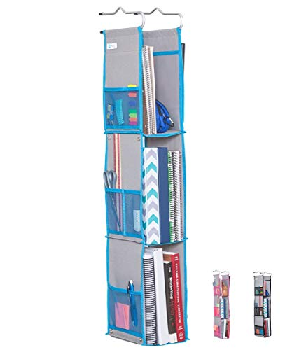 Moditty | Hanging Locker Organizer for School, Work, Gym Storage | 3 or 2 Shelf | 9x6x38 Inches | Polyester (Blue)