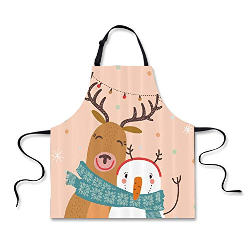- FOR U DESIGNS Funny Women Men Christmas Aprons Cartoon Elk Snowman Printed Party Accessories Chef Kitchen Bib Cooking Baking Restaurant Tools Crafting Apron Pink