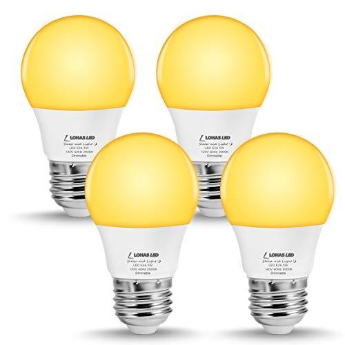 Night Table Lamp Light Base (LOHAS A15 LED Bulb Dimmable, Amber Yellow Light, 40W Equivalent(5W LED), Bedroom Night Light Bulbs, E26 Base, 2000K Decorative Lighting for Nursery Table Lamp(4 Pack))