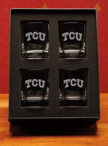 NCAA - TCU Horned Frogs 14 oz Deep Etched Double Old Fashion Glasses Box Set of 4 by CC Glass