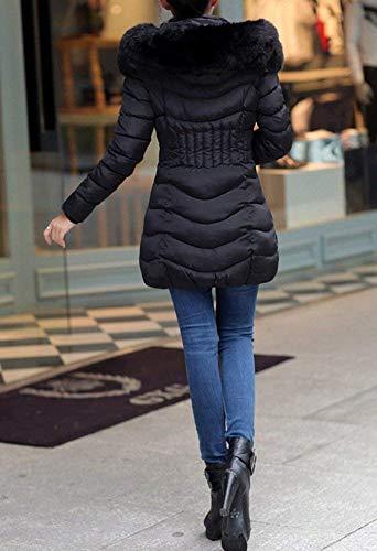 Capuchon Longues Fit Fourrure Slim Manches Hiver avec Doudoune Mode Femme Veste gwq68PUW