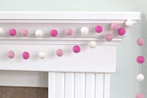 "Rose, Light Pink, White Valentine's Day Felt Ball Pom Pom Garland- 1"" (2.5 cm) Wool Felt Balls"