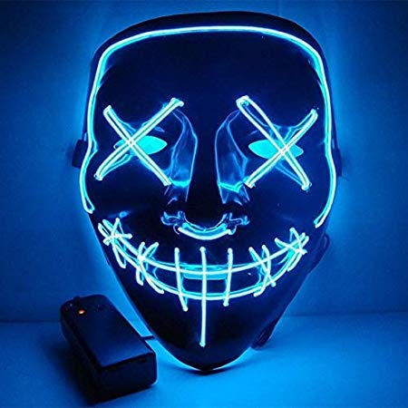 Unknown Masks - Halloween Mask Led Purge Election Funny Festival Costume Supply Glow Dark - Light Masque Block Cloak Allhallow - 1PCs]()