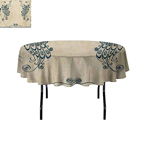 Curioly Peacock Iron-Free Anti-fouling Holiday Round Tablecloth Retro Style Vintage Artwork with Peacocks Animal Ornamental Lines Classic Artful Table Decoration D51 Inch Beige Teal