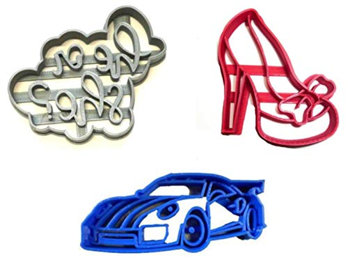 (WHEELS OR HEELS GENDER REVEAL HE OR SHE BOY GIRL HIGH HEEL SPORTS CAR SPORTSCAR BABY SHOWER PARTY SET OF 3 SPECIAL OCCASION COOKIE CUTTERS BAKING TOOL 3D PRINTED MADE IN USA PR1193)